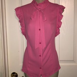 NWT Pink Ruffle Button Down Bow Tie Sleeveless Top